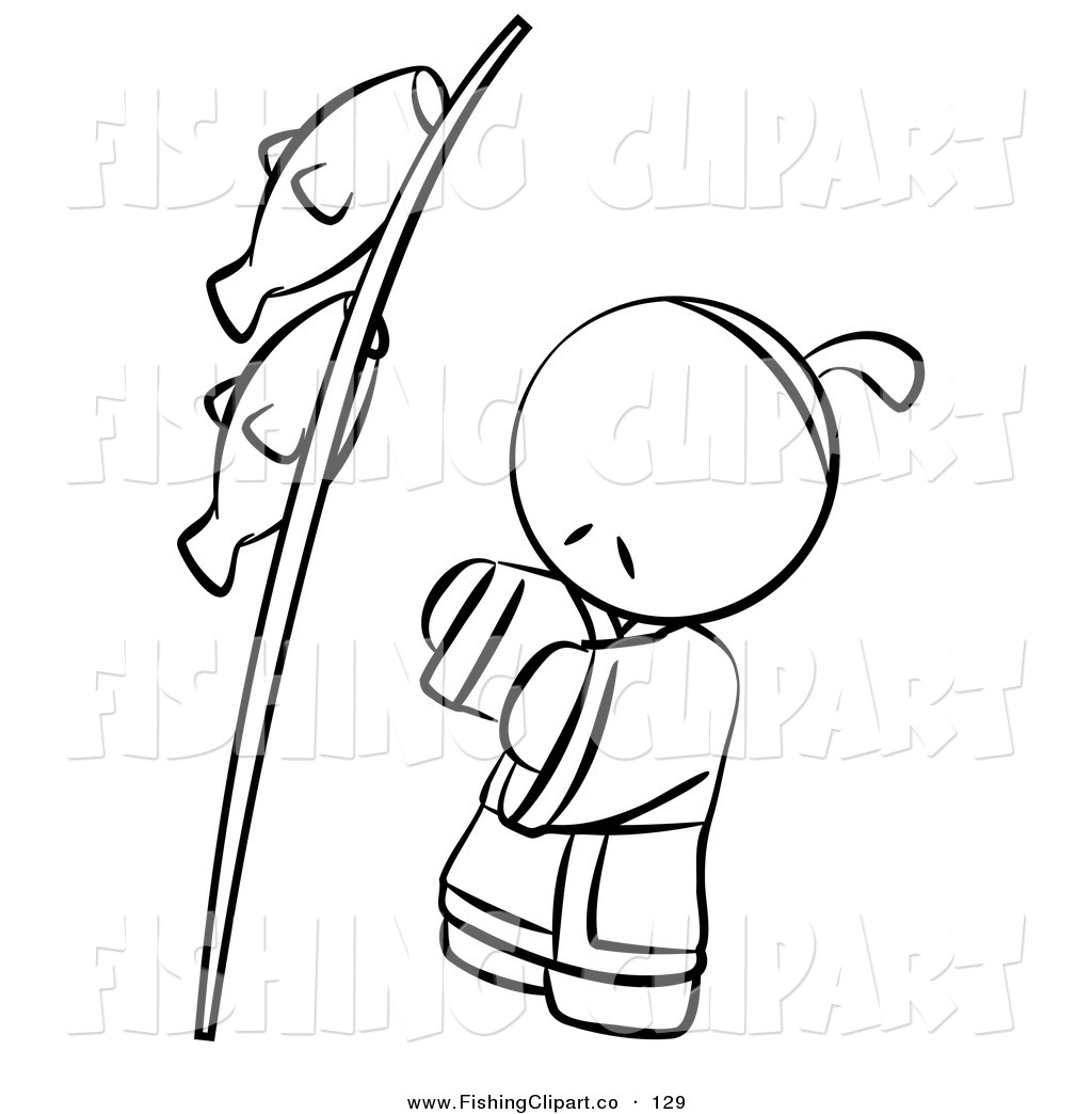 Clip Art Of A Black And White Human Outlined Japanese Boy With Fish On Pole