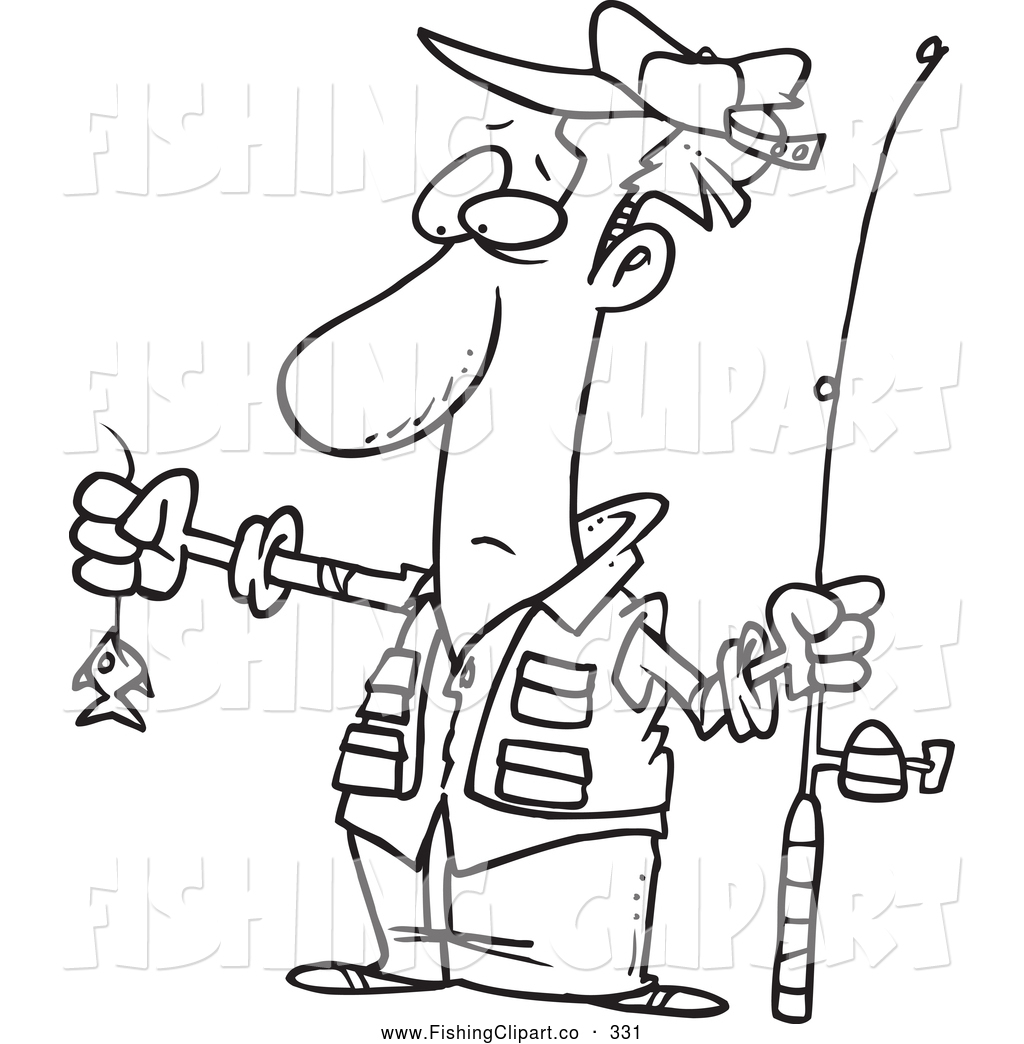 Clip Art Of A Black And White Sketch Disappointed Fisherman With Tiny Fish
