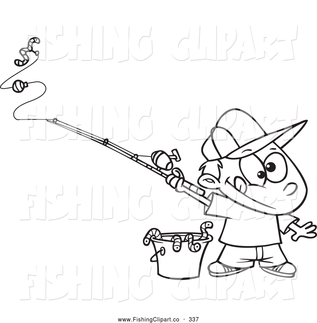 Clip Art Of A Coloring Page Of A Fishing Boy With A Bucket