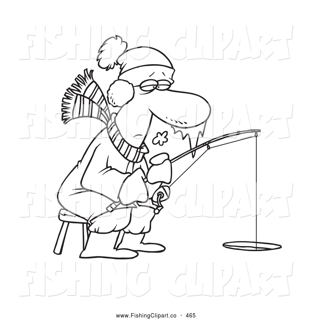 coloring page of a frozen man ice fishing