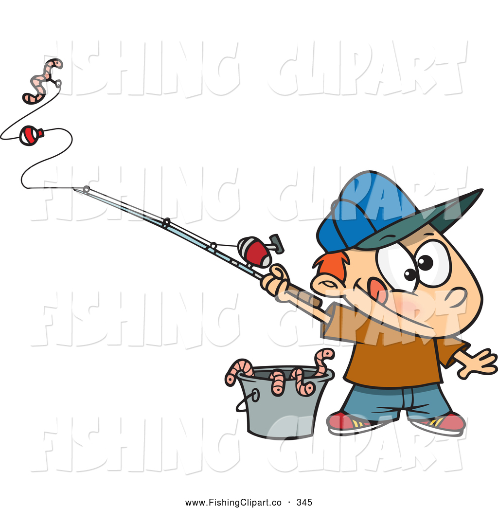 Clip art of a cute cartoon fishing boy with a bucket of for Little kid fishing pole