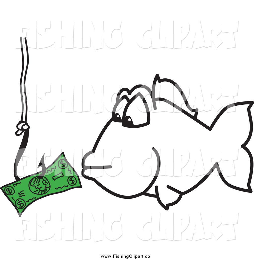Larger preview clip art of a fish eyeing money on a hook for Fish for cash