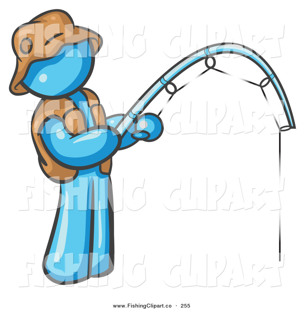 Clip Art of a Light Blue Fisherman Wearing a Hat and Vest ...