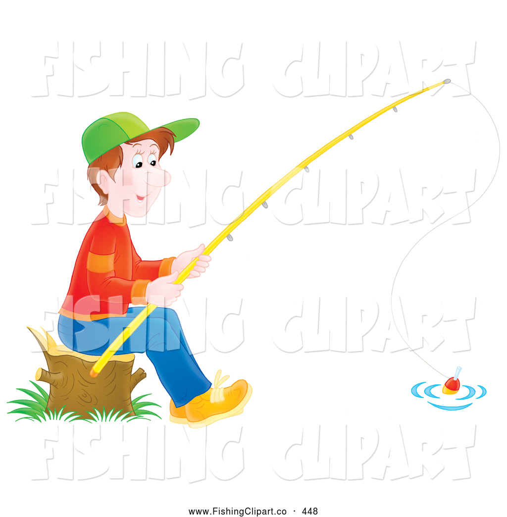 Clip art of a little boy sitting on a stump and fishing by for Little kid fishing pole