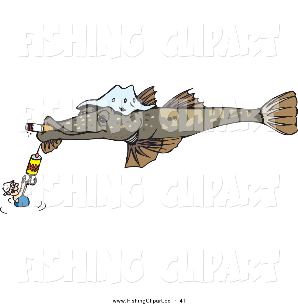 Clip art of a man holding onto a hook on a giant fish for Giant fish hook