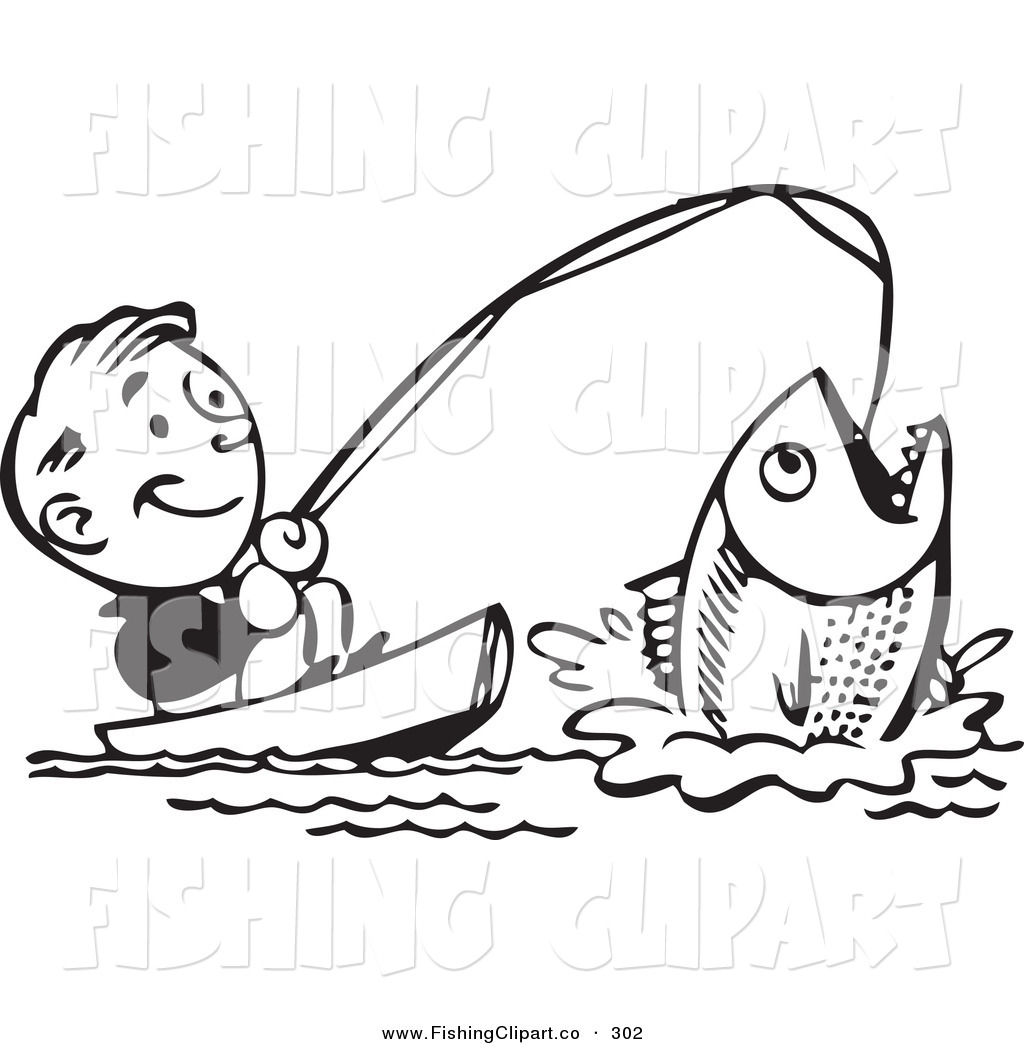 royalty free black and white retro clipart stock fishing