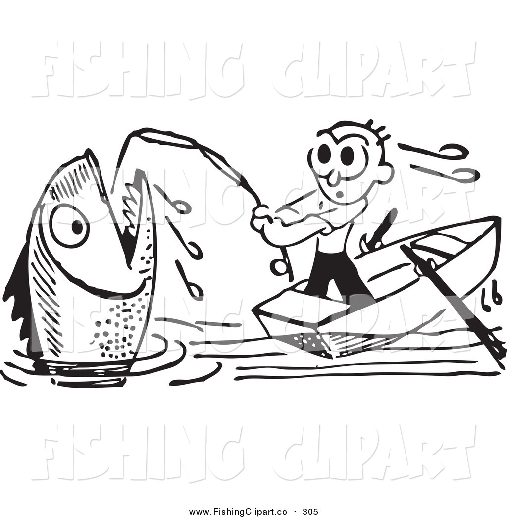 Royalty Free Black And White Retro Stock Fishing Designs