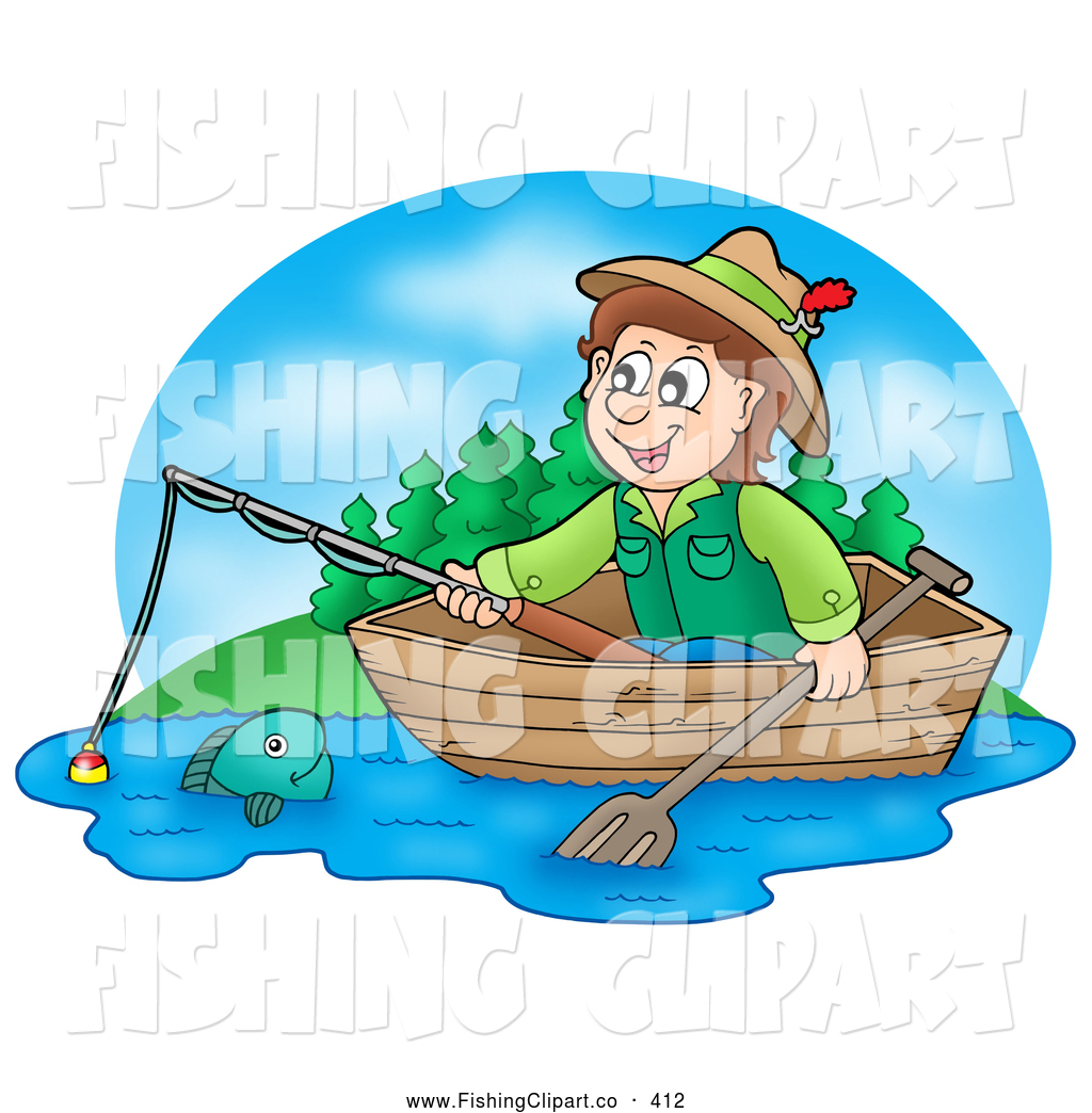 Clip Art Of A Smiling Boy Fishing In Wooden Boat