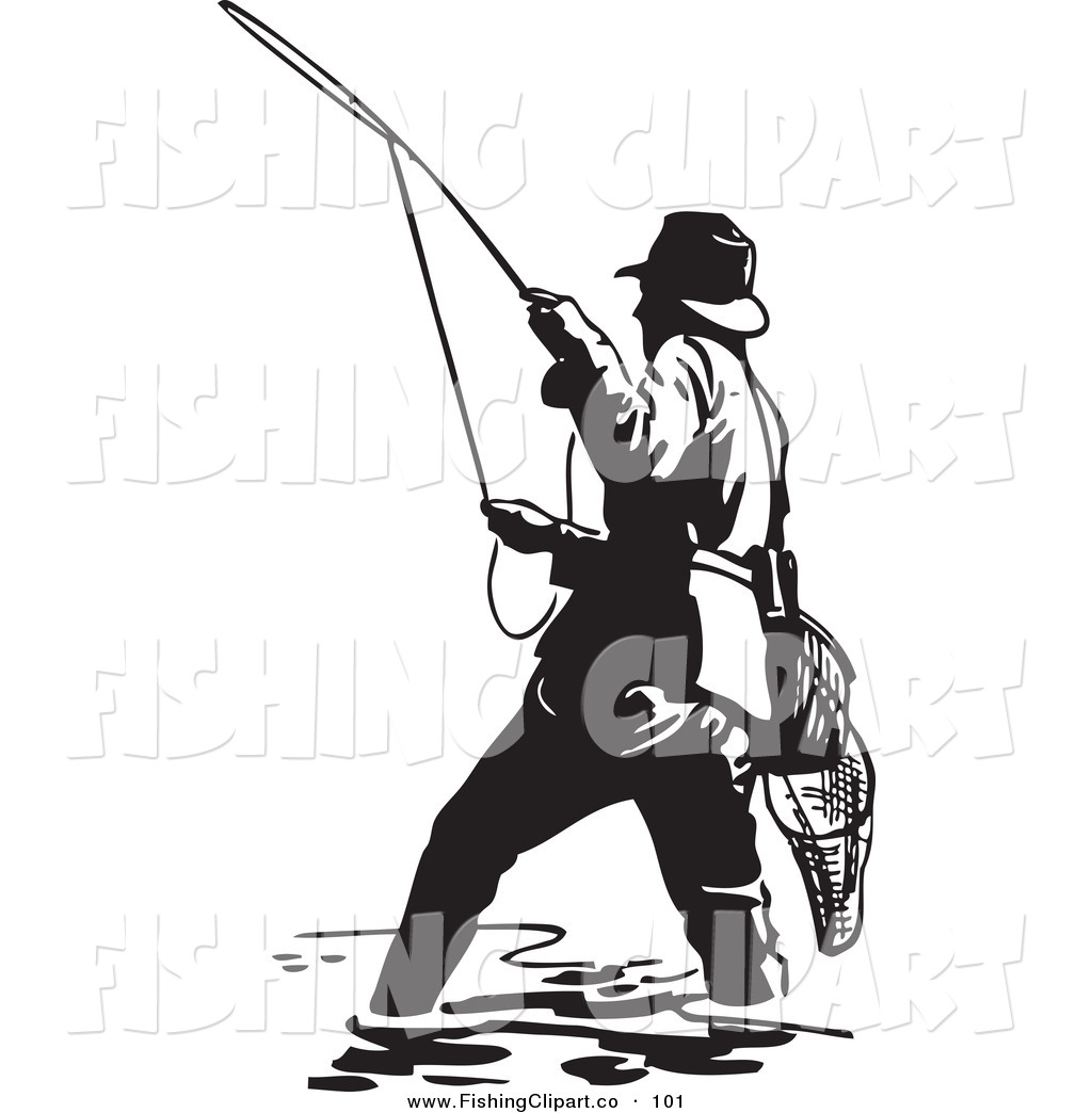 Clip Art of a Sporty Black and White Wading Fisherman ...