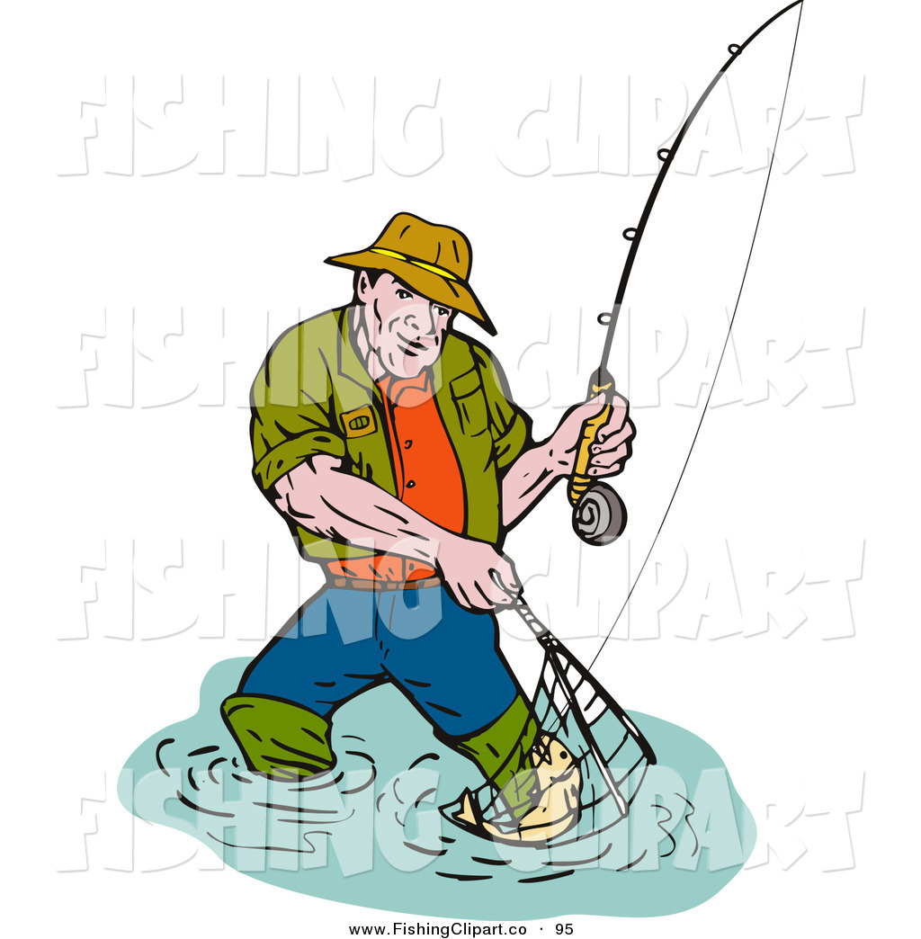clip art of a sporty fishing man scooping up a fish in a net by rh fishingclipart co free clip art community free clip art commercial