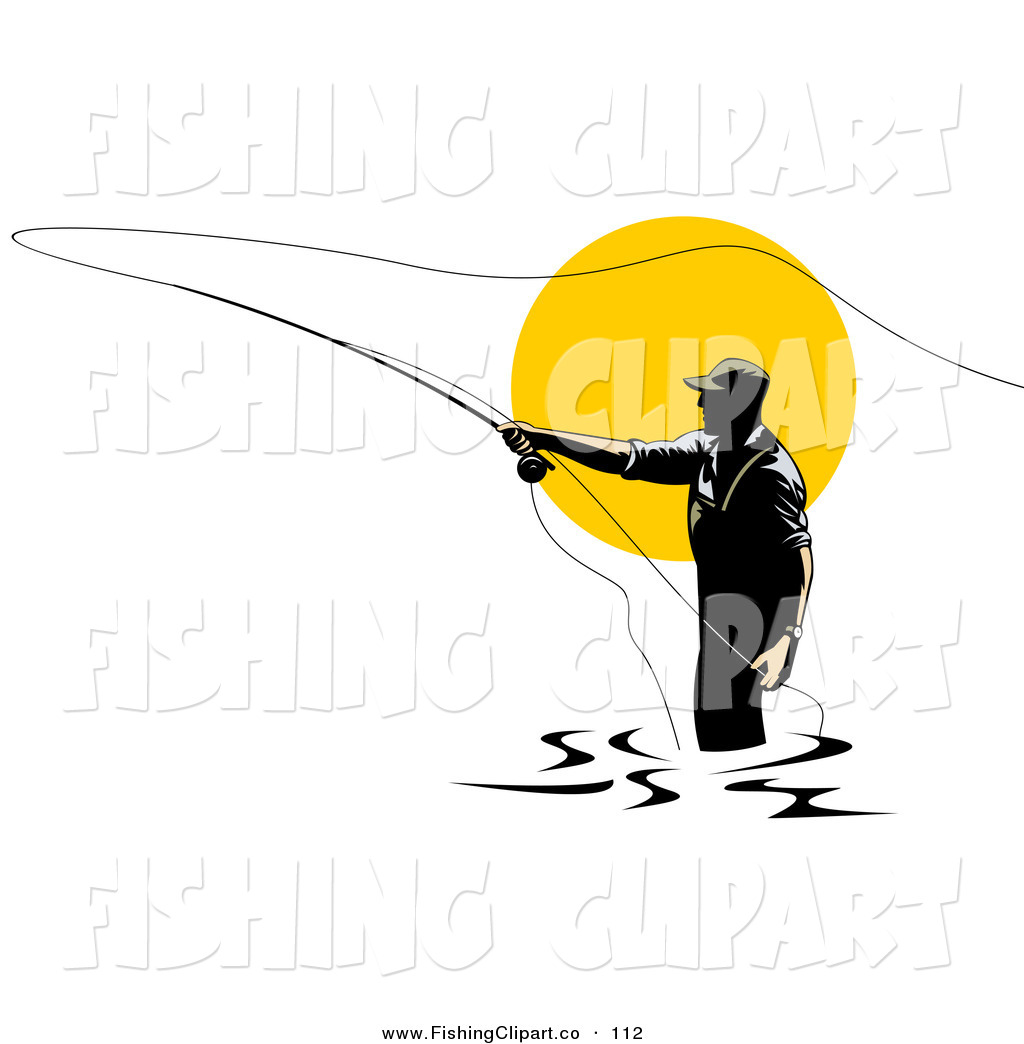 Clip Art of a Sporty Fly Fisherman Silhouetted Against the ...