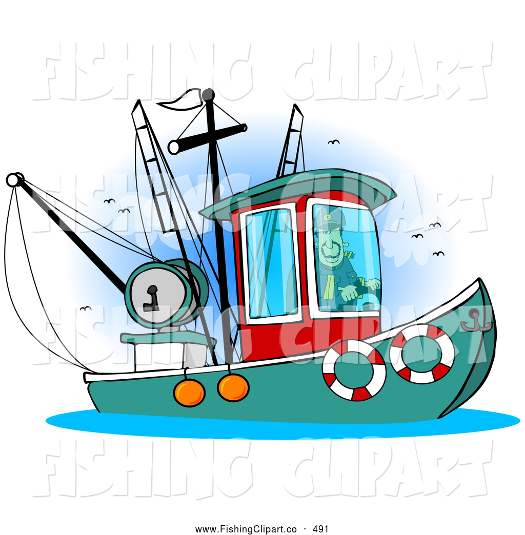 clip art of a trawler fishing boat at sea by djart 491 rh fishingclipart co fishing boat clipart illustrations fishing boat silhouette clip art