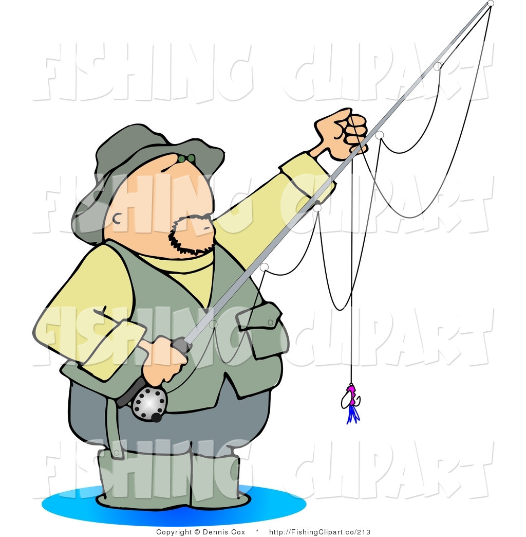 Clip Art of a Wading Fly Fisherman by Dennis Cox - #213