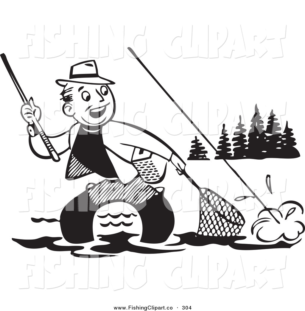 Clip Art Of An Old Fashioned Black And White Man Wading
