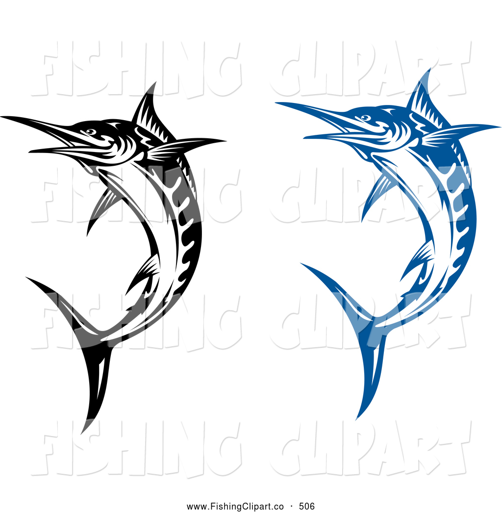 Clip Art of Jumping Blue and Black and White Billfish by Vector ...