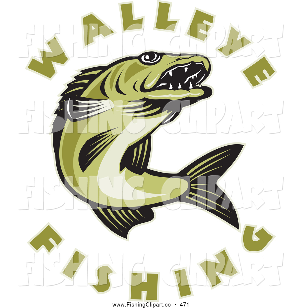 Larger Preview: Clip Art of Walleye Fishing Text Around a Jumping Fish ...