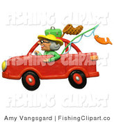 Clip Art of a 3d Granny Driving a Red Car to Go Fishing by Amy Vangsgard