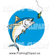 Clip Art of a Albacore Tuna Fish and a Lure by Patrimonio