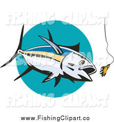 Clip Art of a Albacore Tuna Fish Chasing a Lure over a Turquoise Circle by Patrimonio