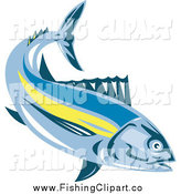 Clip Art of a Albacore Tuna Fish Swimming by Patrimonio