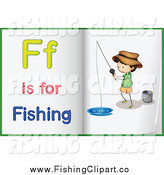 Clip Art of a Alphabet Letter F Is for Fishing Book Pages by Colematt