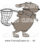 Clip Art of a Ambitious Brown Dog Running with a Net by Djart
