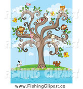 Clip Art of a Animals Fishing from a Swirl Tree by Colematt