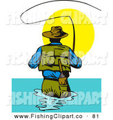 Clip Art of a Backside View of a Fly Fisherman Casting His Line Against the Sun by Patrimonio