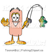 Clip Art of a Bandaid Adhesive Bandage Mascot Cartoon Character Holding a Fish on a Fishing Pole by Toons4Biz