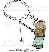 Clip Art of a Bear Thinking and Fishing by Lineartestpilot