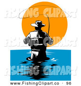 Clip Art of a Behind View of a Wading Fly Fisherman Against the Sunset by Patrimonio