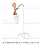 Clip Art of a Big Fish About to Bite an Orange Mans Hook by Leo Blanchette