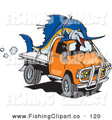 Clip Art of a Billfishblue Marlin Fish Tied on Top of an Orange Ute on White by Dennis Holmes Designs