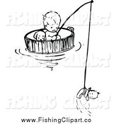 Clip Art of a Black and White Baby Floating and Fishing in a Barrel by Prawny Vintage