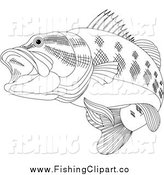 Clip Art of a Black and White Bass Fish by Pushkin