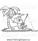 Clip Art of a Black and White Boy Fishing on an Island by Toonaday