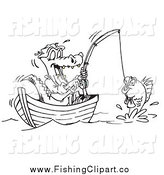 Clip Art of a Black and White Crocodile Fishing from a Boat by Dennis Holmes Designs