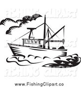 Clip Art of a Black and White Fishing Boat by Patrimonio
