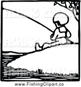 Clip Art of a Black and White Fishing Boy on a Hill by Prawny Vintage