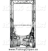 Clip Art of a Black and White Frame of Fishing Gear by Prawny Vintage
