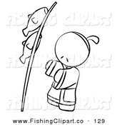 Clip Art of a Black and White Human Outlined Japanese Boy with Fish on a Pole by Leo Blanchette
