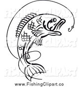 Clip Art of a Black and White Leaping Fish Under a Hook with Line by Seamartini Graphics