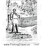 Clip Art of a Black and White Man with His Fishing Pole and Trout by Prawny Vintage