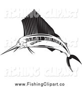 Clip Art of a Black and White Sailfish by Patrimonio