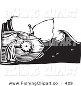 Clip Art of a Black and White Woodcut Scene of a Man Fishing and Catching the Giant Fish He by Xunantunich