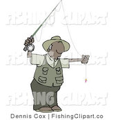 Clip Art of a Black Guy Fly Fisherman Getting Ready to Go Fishing by Djart