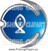 Clip Art of a Blue and Chrome Fishing Icon by Lal Perera