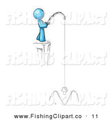 Clip Art of a Blue Design Mascot Man Fishing off a Cliffside by Leo Blanchette