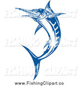 Clip Art of a Blue Jumping Billfish by Vector Tradition SM