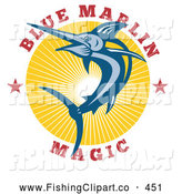 Clip Art of a Blue Marlin Magic Text Around a Jumping Sword Fish by Patrimonio